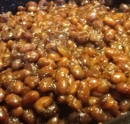 Old fashion baked beans and fat pork.