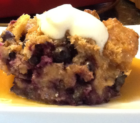 Blueberry Duff with Caramel Sauce