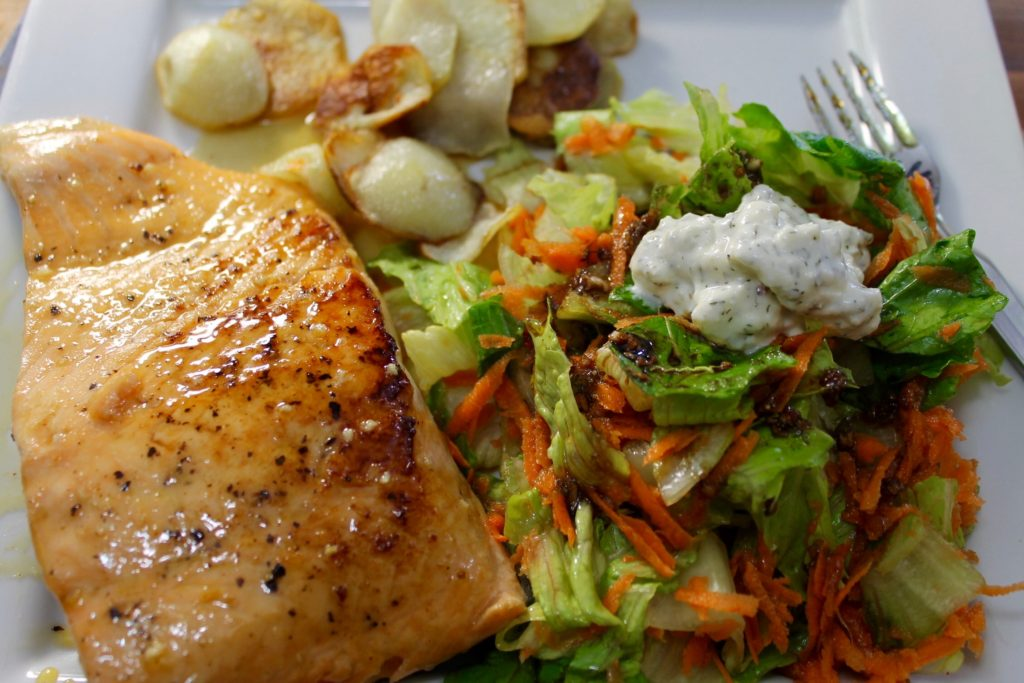 Maple Glazed Salmon With Herb And Feta Toss Salad Bonita
